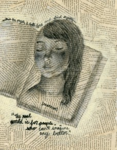 Charcoal and acrylics on book pages.